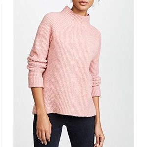 Pink madewell turtleneck knit sweater Karen mock